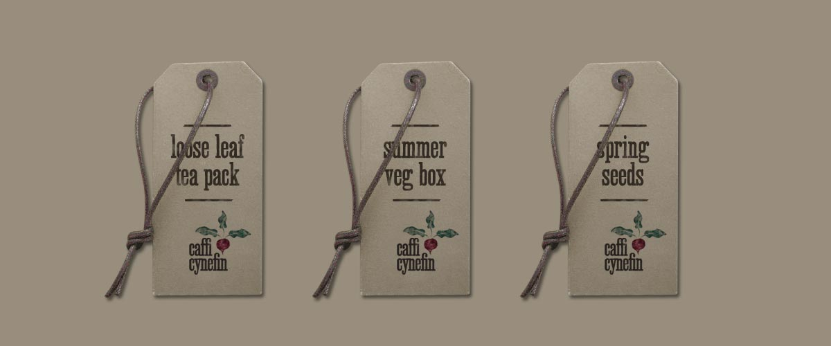Caffi Cynefin Branding Tags Design